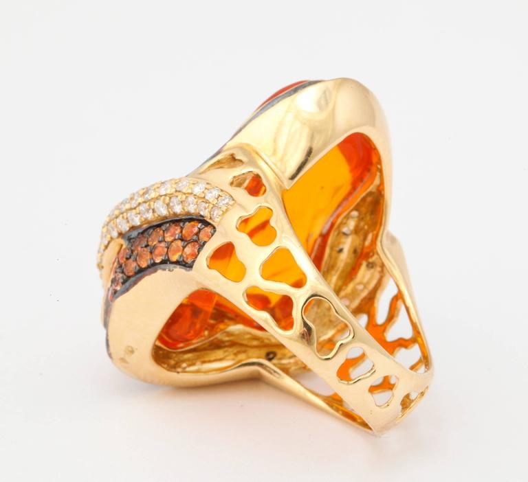 Mexican Opal Orange Sapphire Diamond Gold Ring 7