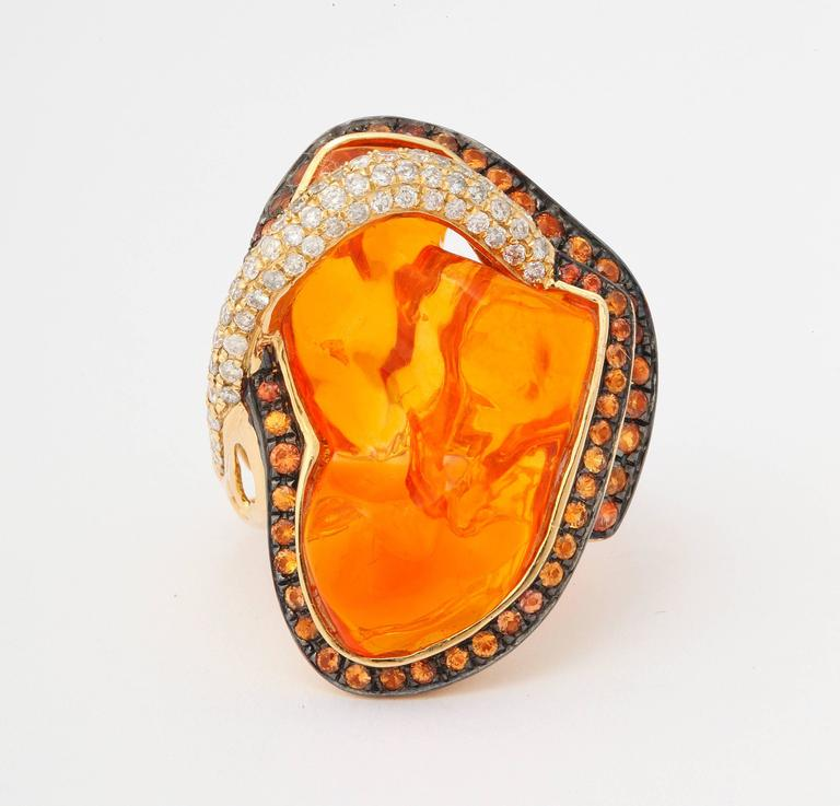 Mexican Opal Orange Sapphire Diamond Gold Ring 2
