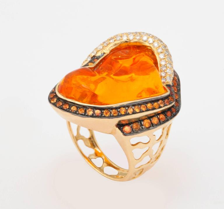 Mexican Opal Orange Sapphire Diamond Gold Ring 4