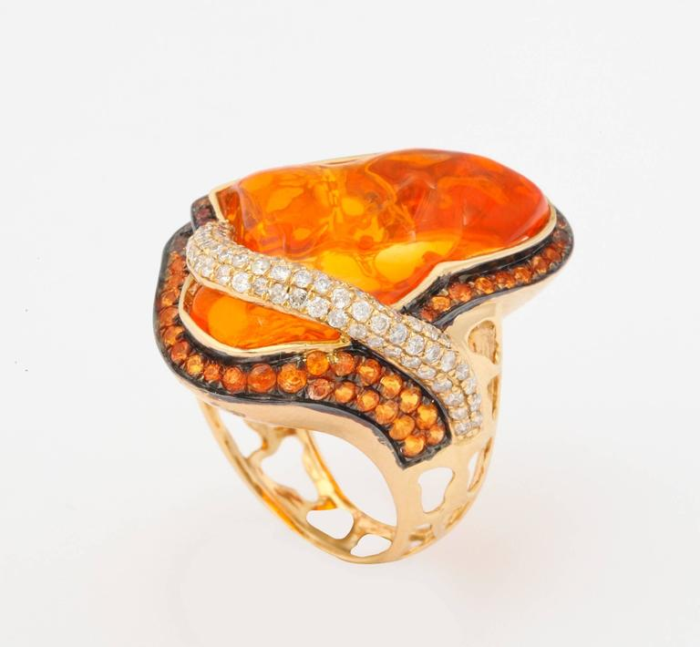 Mexican Opal Orange Sapphire Diamond Gold Ring 5
