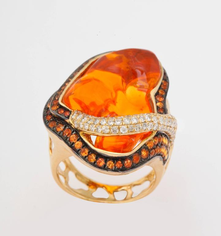 Mexican Opal Orange Sapphire Diamond Gold Ring 3