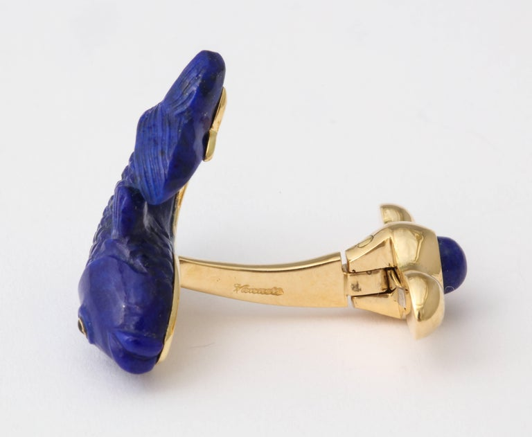 Michael Kanners Carved Lapis and Gold Fish Cufflinks For Sale 5