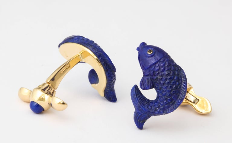 Women's or Men's Michael Kanners Carved Lapis and Gold Fish Cufflinks For Sale