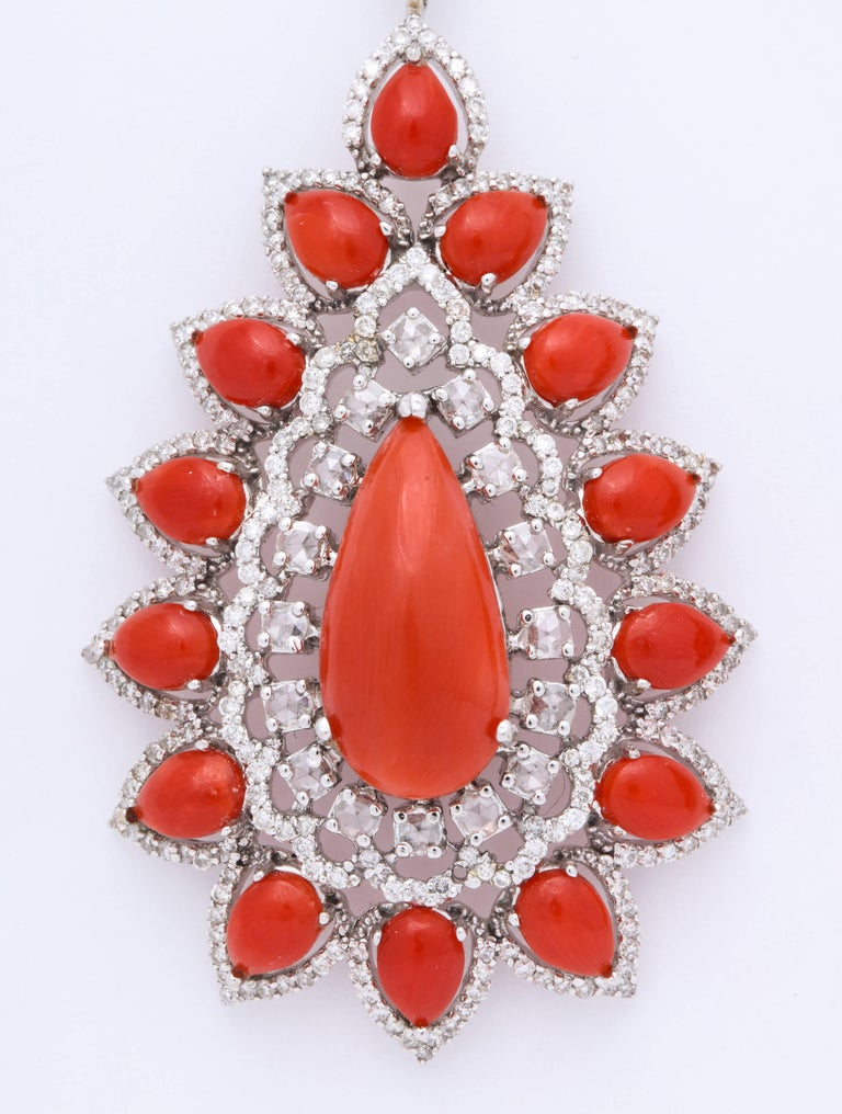 Women's or Men's Coral Diamond Gold Drop Earrings For Sale