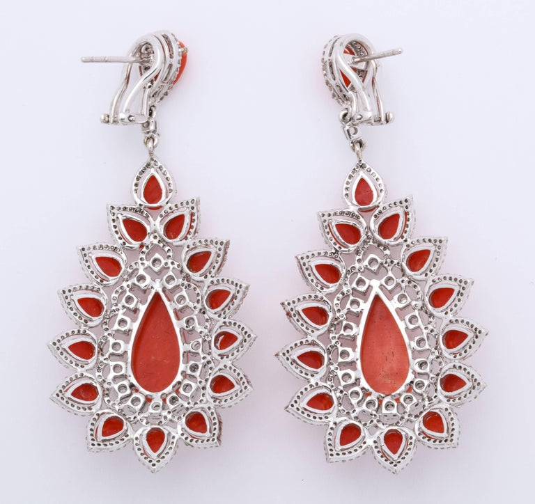 Coral Diamond Gold Drop Earrings For Sale 3