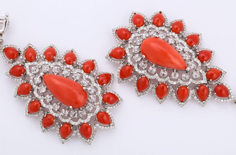 Coral Diamond Gold Drop Earrings For Sale 1