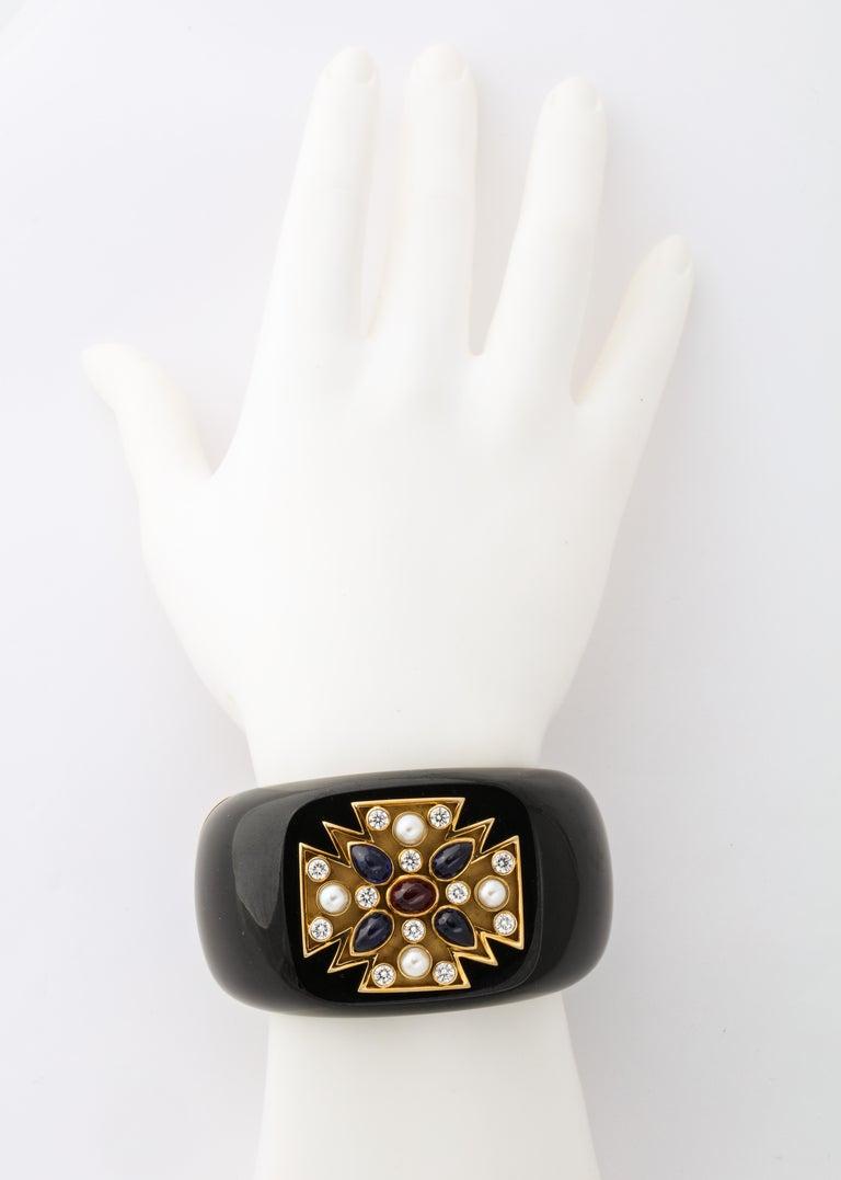 Women's Verdura Black Jade Ruby Sapphire Pearl Diamond Maltese Cross Cuff Bracelet For Sale