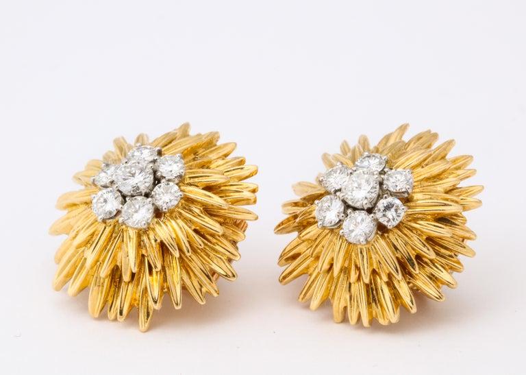 Women's 1960s Van Cleef & Arpels Paris Gold Diamond Earrings For Sale