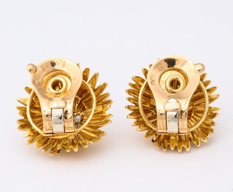 1960s Van Cleef & Arpels Paris Gold Diamond Earrings For Sale 6
