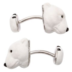 Michael Kanners Carved Stone Polar Bear Cufflinks