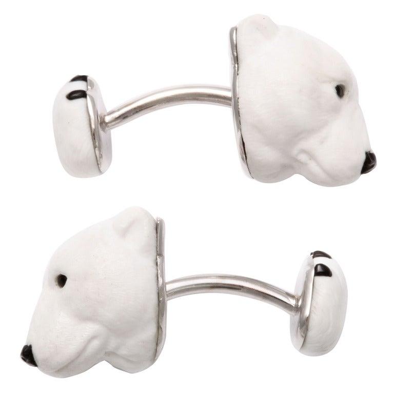 Michael Kanners Carved Stone Polar Bear Cufflinks For Sale