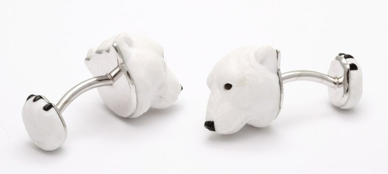 Michael Kanners Carved Stone Polar Bear Cufflinks In New Condition For Sale In Bal Harbour, FL