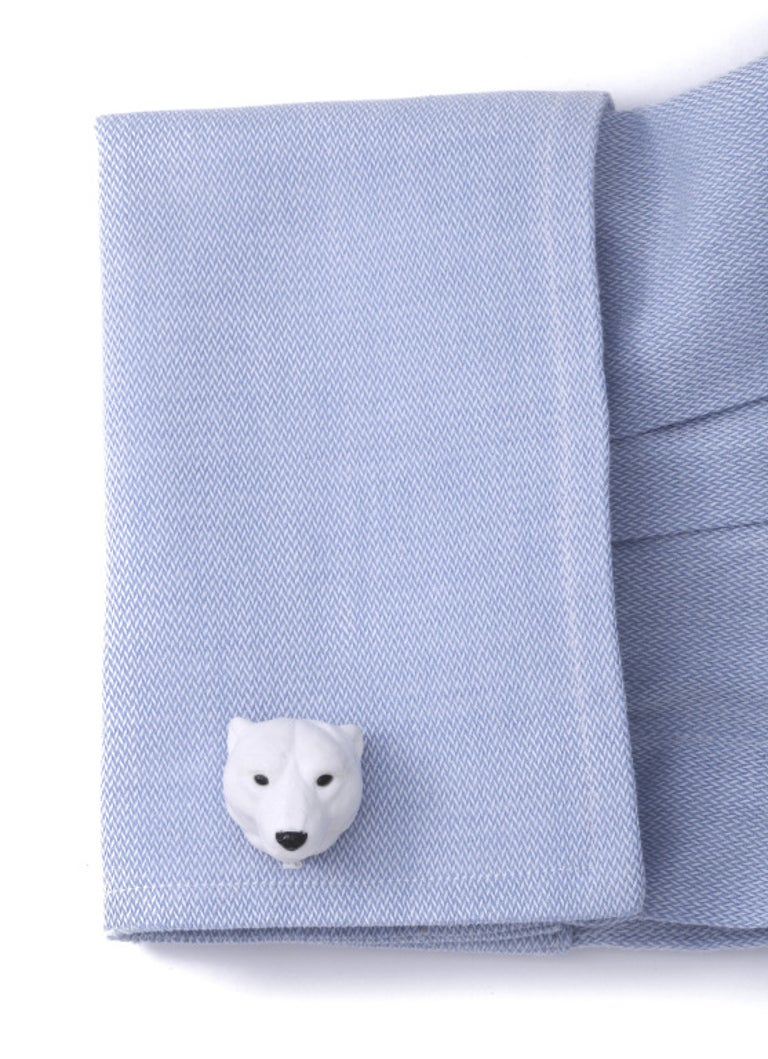 Contemporary Michael Kanners Carved Stone Polar Bear Cufflinks For Sale