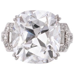 GIA Certified 16 Carat Old Mine Brilliant Cut Diamond Ring