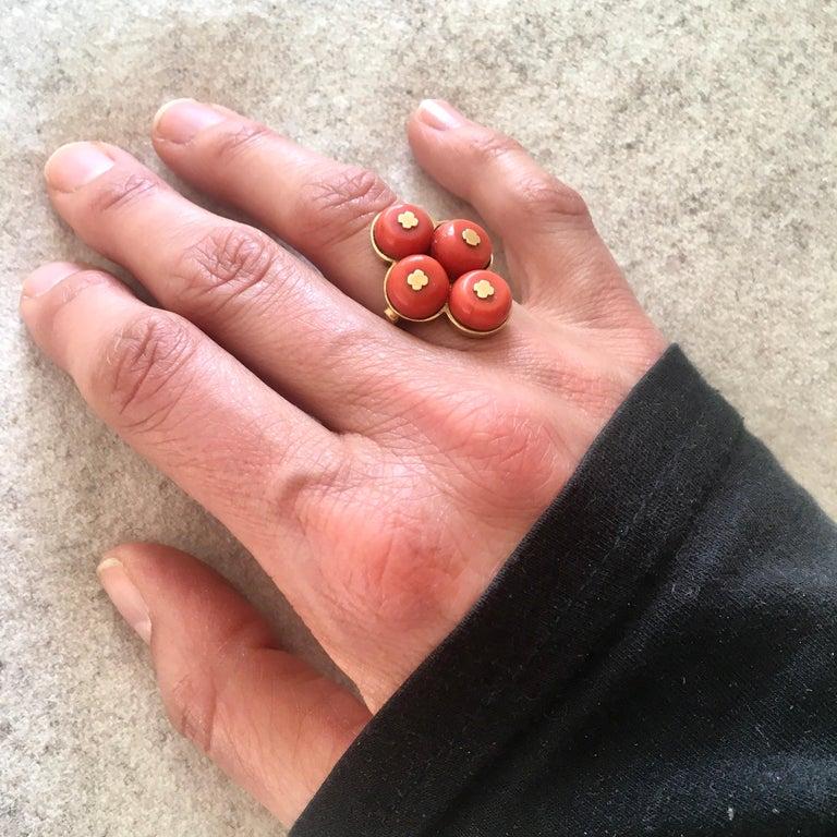 Vintage 14 Karat Gold Red Coral Jewelry Set For Sale 7