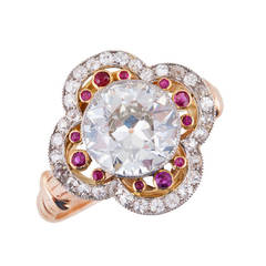 Edwardian 1.90 Carat Diamond Ruby 18 Karat Gold Platinum Ring