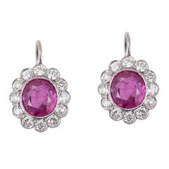 Edwardian Non-Heat Treated Burmese Ruby Diamond Platinum Rosette Earrings