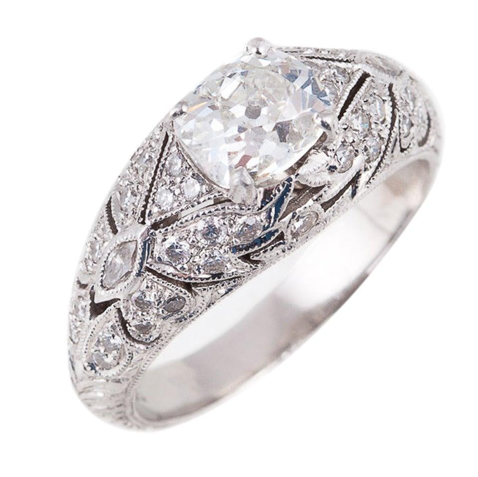 1.24 Carat Diamond Platinum Butterfly Ring