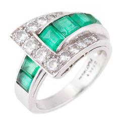 Oscar Heyman Emerald Diamond Platinum Ring