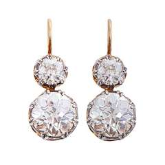 EGL Certified 4.96 carats Diamond Silver Gold Two Stone Earrings