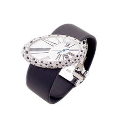 Cartier Ladies White Gold Diamond Onyx Limited Edition Wristwatch