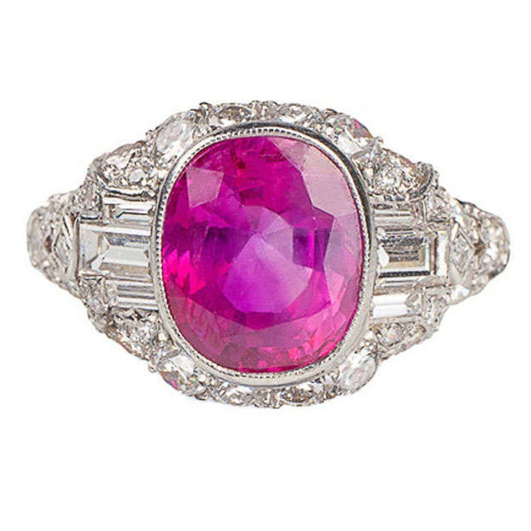 GIA Certified 4.20 Carat UNTREATED Ruby Diamond Platinum Art Deco Ring