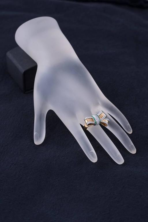 Retro Emerald, Diamond & Gold Bow Ring 4