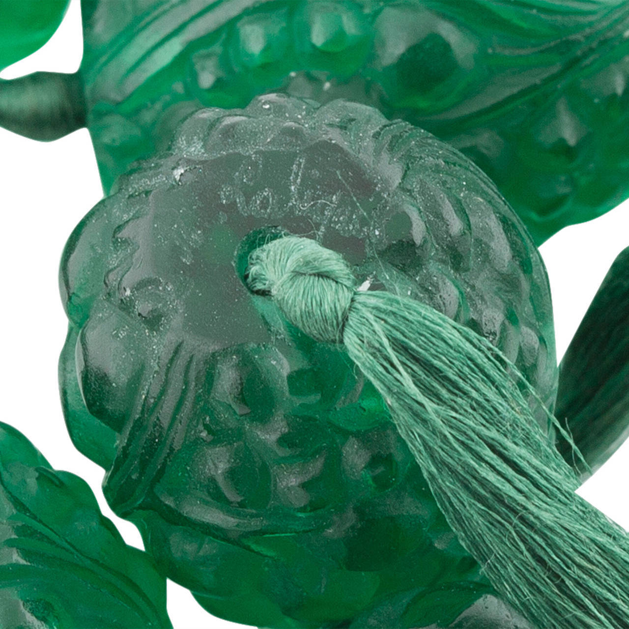 Art Deco 1920s René Emerald Green Lalique Grosses Graines Bead Necklace For Sale