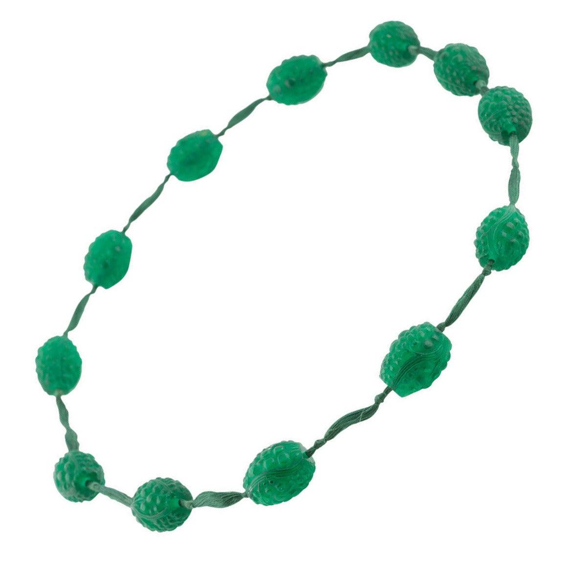 1920s René Emerald Green Lalique Grosses Graines Bead Necklace For Sale