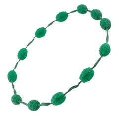 1920s René Emerald Green Lalique Grosses Graines Bead Necklace