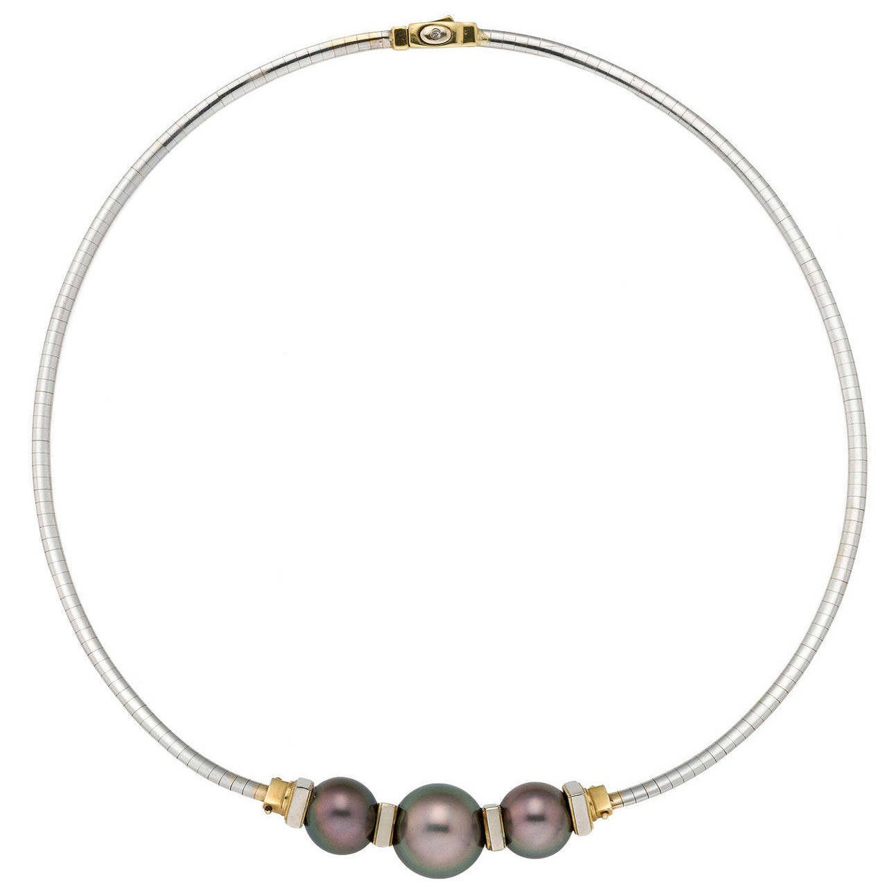 a tahitian pearl gold omega necklace at 1stdibs