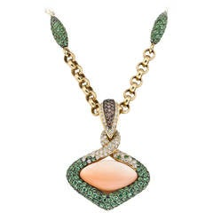 Pink Synthetic Hydro Carbon Garnet Diamond Pendant Necklace