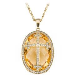 Citrine Diamond Gold Cross Pendant