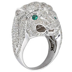 Diamond Gold Lion Head Dress Ring