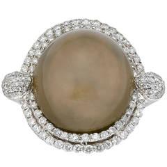 Cabochon Chrysoberyl Pave Set Diamond Gold Dress Ring