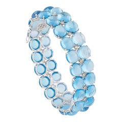 Blue Topaz and Diamond Bracelet Set in White Gold