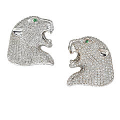 Cartier-Style Panther Diamond Encrusted Earrings