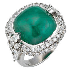 Sugarloaf Cabochon Cut Emerald Diamond Cocktail Ring