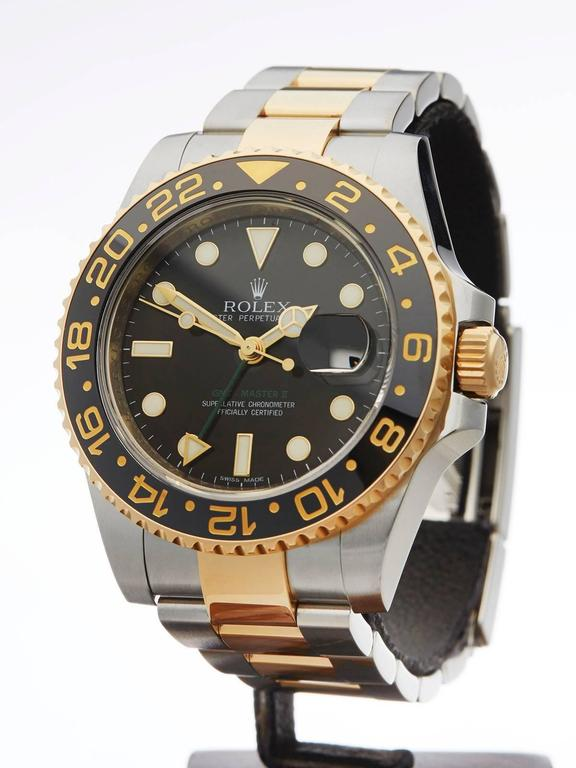 Rolex Yellow Gold Stainless Steel GMT-Master II Automatic Wristwatch In As new Condition For Sale In Bishop's Stortford, GB