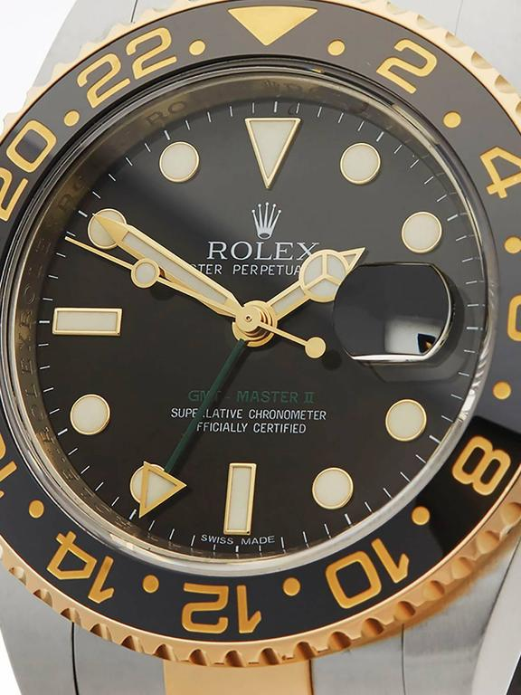 Ref: W3186 Model: 116713LN Serial: 0N0***** Condition: 9 - Excellent condition Age: 1st July 2011 Case Diameter: 40 mm Box and Papers: Box, Manuals and Papers Movement: Automatic Case: Stainless Steel/18k Yellow Gold Dial: Black Bracelet: Stainless
