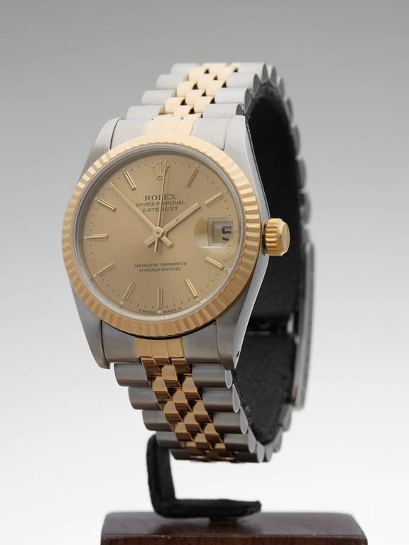 Rolex Ladies Yellow Gold Stainless Steel Datejust Mid Size Automatic Wrist Watch 2