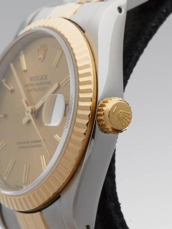Rolex Ladies Yellow Gold Stainless Steel Datejust Mid Size Automatic Wrist Watch 3