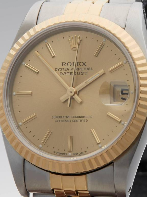 Rolex Ladies Yellow Gold Stainless Steel Datejust Mid Size Automatic Wrist Watch 4
