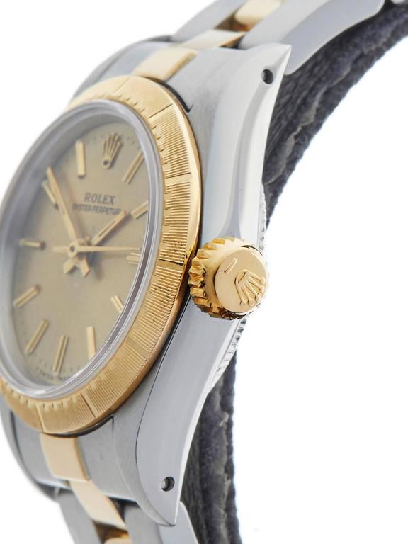 Women's Rolex Ladies Yellow Gold Stainless Steel Oyster Perpetual Automatic Wristwatch For Sale