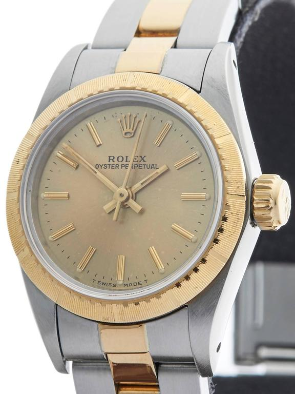Rolex Ladies Yellow Gold Stainless Steel Oyster Perpetual Automatic Wristwatch In Excellent Condition For Sale In Bishop's Stortford, Hertfordshire