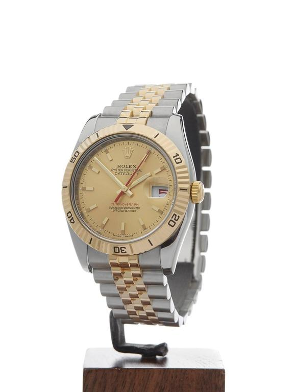 Ref: W3432 Model: 116263 Serial: F81**** Condition: 9 - Excellent condition Age: 27th September 2005 Case Diameter: 36 mm Case Size: 36mm Box and Papers: Box, Manuals and Guarantee Movement: Automatic Case: Stainless Steel/18k Yellow Gold Dial: