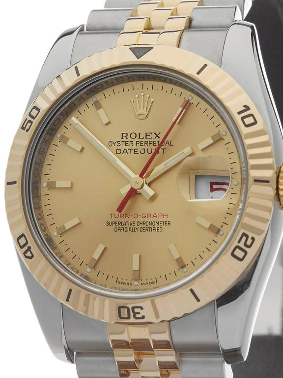 Rolex Yellow Gold Stainless Steel Datejust Turn-o-graph Automatic Wristwatch In Excellent Condition For Sale In Bishop's Stortford, Hertfordshire