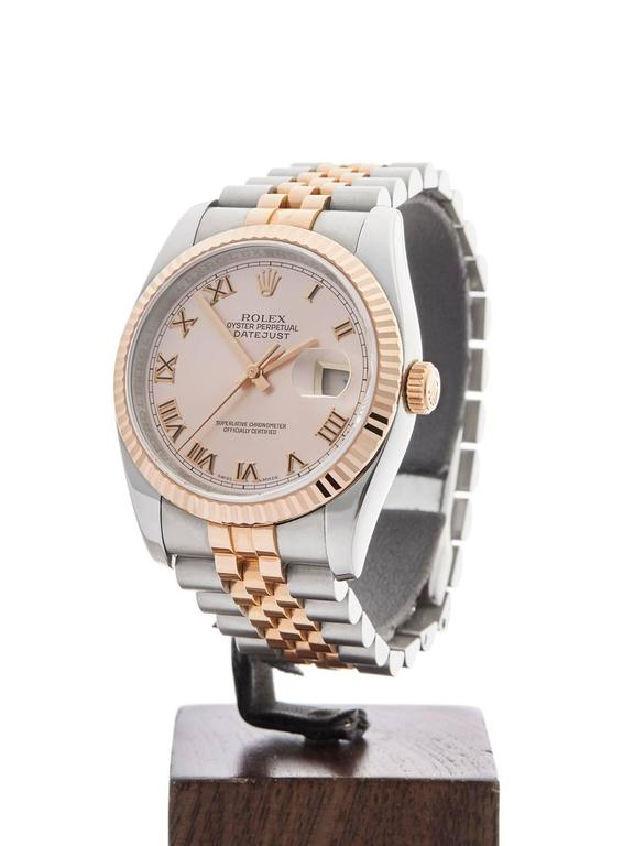 Ref: W3493 Model: 116231 Serial: D20**** Condition: 9 - Excellent condition Age: 8th June 2006 Case Diameter: 36 mm Case Size: 36mm Box and Papers: Box, Manuals and Guarantee Movement: Automatic Case: Stainless Steel/18k Rose Gold Dial: Rose