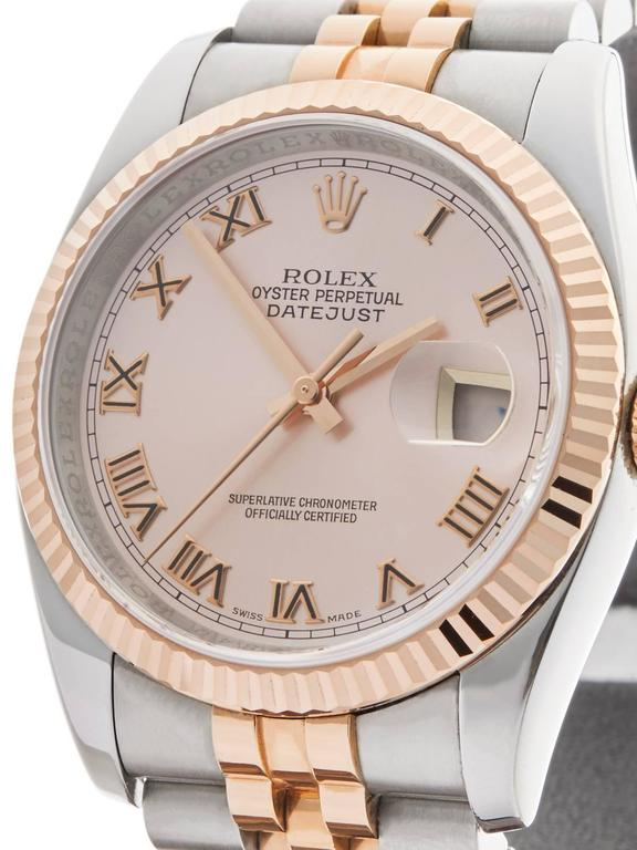 Rolex Rose Gold Stainless Steel Datejust Automatic Wristwatch 116231 2006 In Excellent Condition For Sale In Bishop's Stortford, GB
