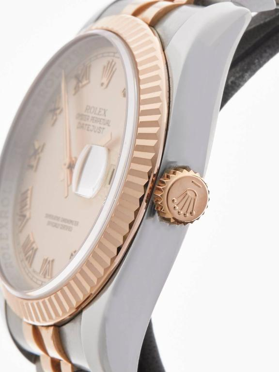 Women's or Men's  Rolex Rose Gold Stainless Steel Datejust Automatic Wristwatch 116231 2006 For Sale